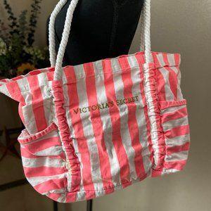 Victoria's Secret Pink & White Striped Beach Bag